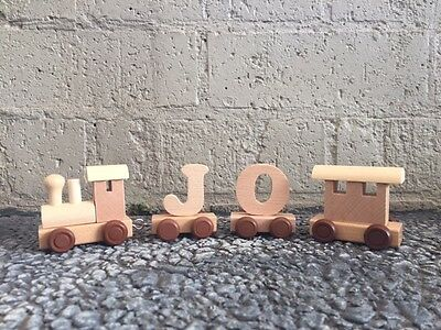 Wooden Alphabet Name Train Toy - Personalised Gift - 1st Birthday - Christening