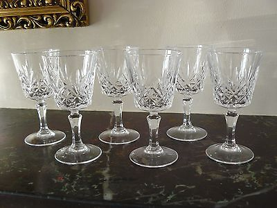 6 Vintage Cristal D'arques Chantilly Beaugency Cut Crystal Liqueur Glasses Boxed