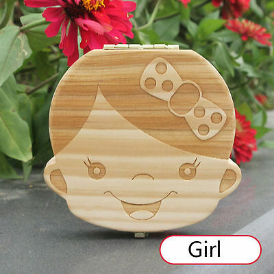 Tooth Box organizer for baby Girl Save Milk teeth Wooden storage box for kid