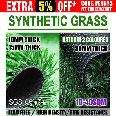 10 20 30 40SQM Artificial Grass Synthetic Turf Plant Lawn Emerald 10MM 15MM 30MM