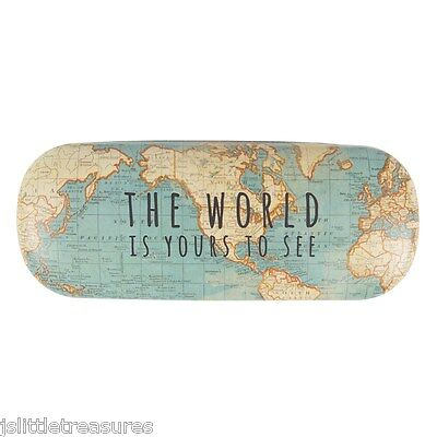 Vintage World Map Design Hard Glasses Case & Cloth - The World Is Yours To See