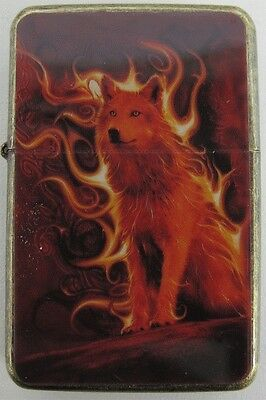 Wolf Flame Design Star Lighter In Gift Tin