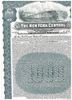 New York Central Railroad Co., 1913, Gold Bond 1000$, coupons