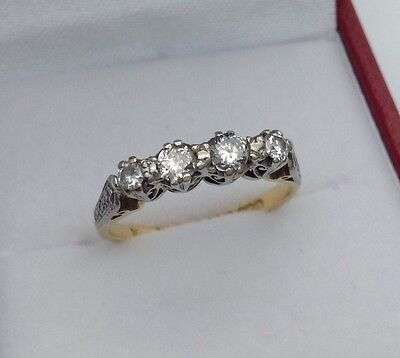 Beautiful Vintage 18ct Gold Diamond 4 Stone Ring Size K