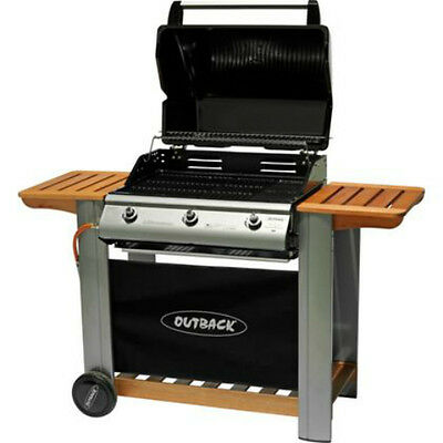 Outback Gas BBQ Black 3 Burner Hooded Barbecue Grill with Wooden Side Shelves