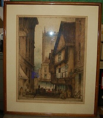 Antique Coloured  Print Etching By E Sharland Old Town Bristol Chester ? Signed