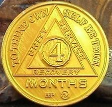 UK Seller - Alcoholics Anonymous 4 Month Chip Aluminium