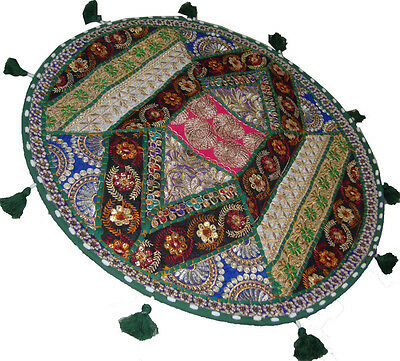 "24"" Round Indian Ethnic Patch Moti Work  Embroider Cushion Cover Throw Tapestry"