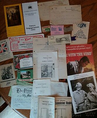 Job Lot of 20 Vintage paper items, good mix and varieťy, collectable, ephemera