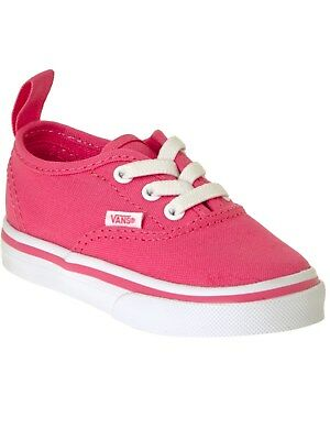 Vans Hot Pink-True White Authentic Elastic Lace Toddlers Shoe