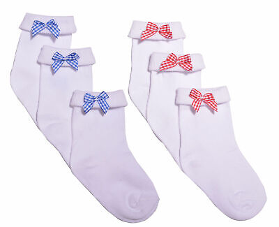 3 Pairs Girls Bow Ankle Socks School Socks Red Bow Blue Bow Socks White