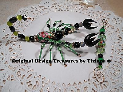 TreasuresbyTiziana ® Original Creepy Black Green Scorpion Scorpio Zodiac Sign