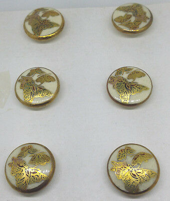 SATSUMA Buttons. Antique set of 6. Hand painted Butterflies 16mm JAPANESE.