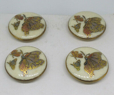 SATSUMA Buttons. Antique set of 4. Hand painted Butterflies 24mm JAPANESE.