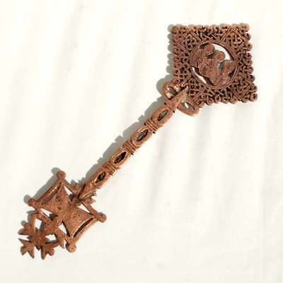 Rare Ethiopian Blessing Copper Hand Cross with Icons, Coptic Orthodox Christian