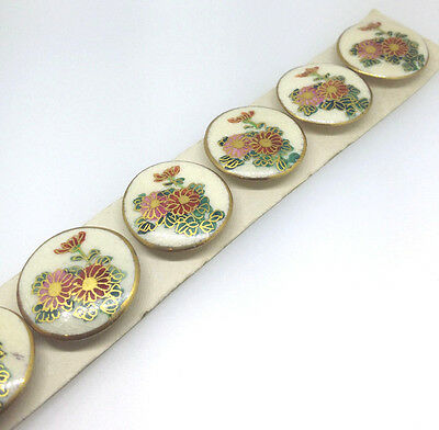 SATSUMA Buttons. Antique set of 6. Hand painted Flowers 24mm JAPANESE.
