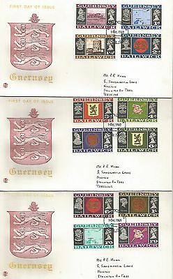 Guernsey 1 Oct 1969 Definitive Three First Day Covers  Ref 444