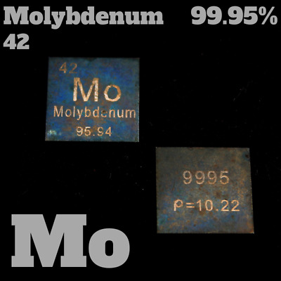 Molybdenum 42 Mo - 99,95% carved pure Mo plate - 2,15g - Molybdän Platte