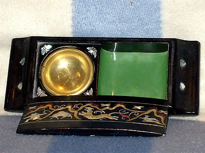 Old Chinese Inlaid Black Laquered Cigarette/smokers Box Excellent Condition