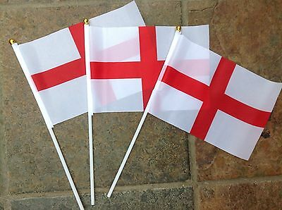 2 x ENGLAND Hand Waving Flags St George English small flag RUGBY DISPLAY PUB