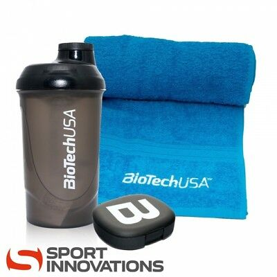 BioTech USA Handtuch, 700ml Eiweiß Shaker & Pillen Box Fitness Paket GYM Package