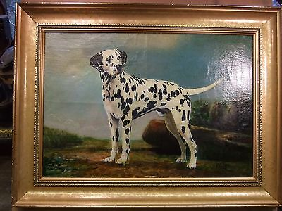Vintage  animal oil painting of a Dalmatian dog in a landscape