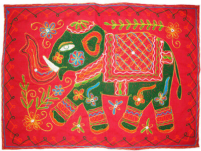 Red Cotton Antique Embroider Cotton Elephant Tapestry Table Runner Indian Art