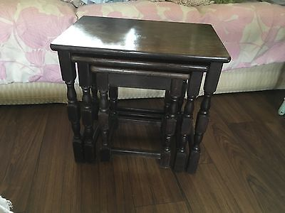 Nest of Three Vintage Old Charm Wood Brothers  Coffee Lamp Tables