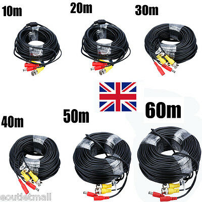 10M-60M BNC Lead Video Power Cable DC Security CCTV Camera DVR Recorder Wire UK