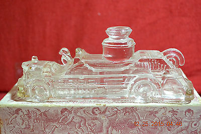 Vintage Glass Fire Engine Candy Container