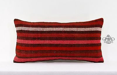 "Striped Red Pillow Cover 10x20"" Turkish Kilim Lumbar Cushion Retro Decor Throw"