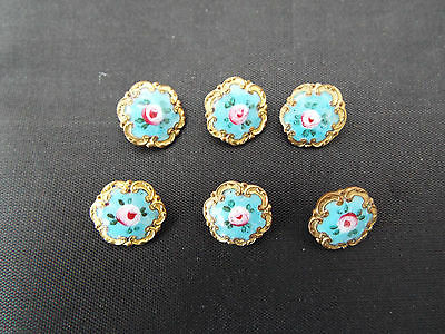 ANTIQUE SET OF 6 GILT ENAMELLED BUTTONS FRENCH c.1870 - 1910