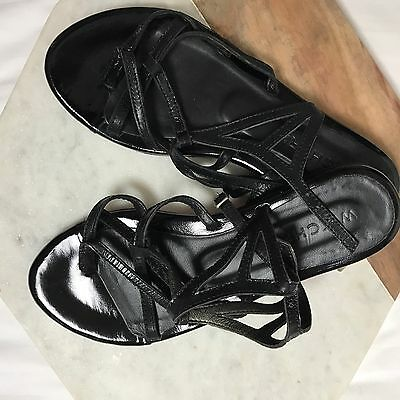 Black 37 Witchery Sandals Flats With Buckle Strappy Patent Leather