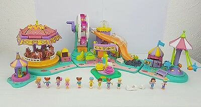 Polly Pocket Rides 'N Surprises, Spin Pretty Carousel, Rocket Ride *Complete*
