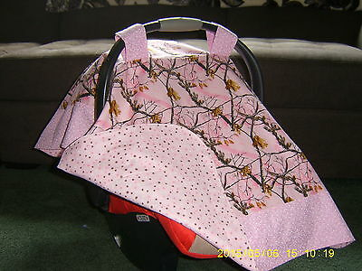 **REAL TREE** Camo in Pink Handmade Baby Infant Car Seat Canopy-Cover