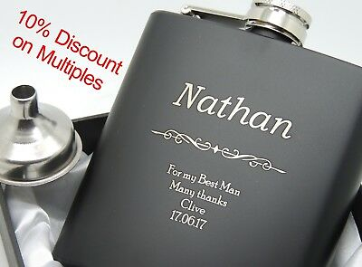 Personalized, Engraved Stainless Steel (Black) 6oz Hip Flask, Best Man, Gift Box