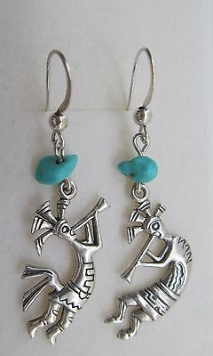 Sterling Silver And Turquoise Native American Kokopelli Earrings