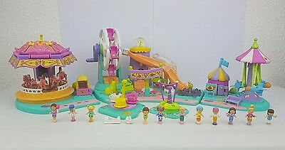 Polly Pocket Rides 'N Surprises, Spin Pretty Carousel,Rocket Ride*Complete* 1996