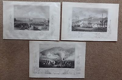 3 Military Scenes engravings G.W. Terry, Entry of The Allies into Paris 1815