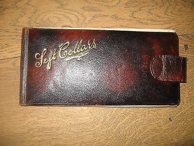 Vintage Old Antique Gents Edwardian Leather Soft Collars Wallet Case