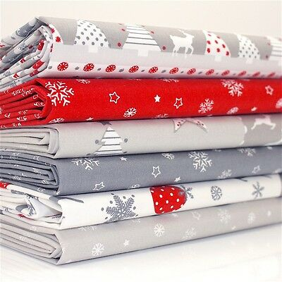 FQ Bundle - Nordic Noel Red White Grey Christmas x 6 - Cotton Fabric Patchwork Q