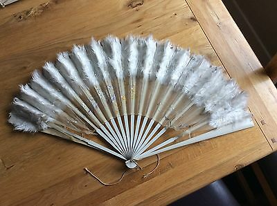 Antique Silk & Feather Painted Fan