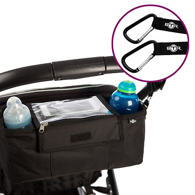 BTR Pram Buggy Buddy Stroller Organiser Changing Storage & Parent Bag - Black