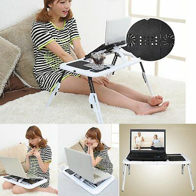 Laptop Bed Tray Lap Table Notebook Computer Holder Tilts Stand USB Cooling Fan