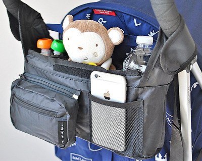 Premium Stroller Organizer - Universal Fit with Detachable Pouch and Insulated..