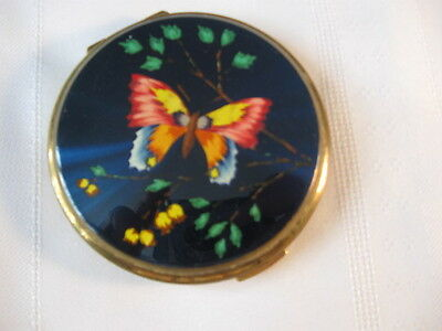 vintage Stratton Compact Made in England Butterfly shimmering Blue enamel