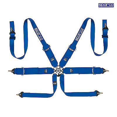 Sparco 6 - point Safety Belts, narrow to HANS, blue