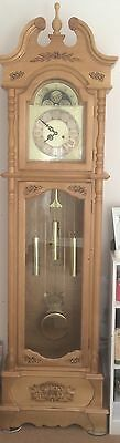 Stunning Hand Carved Light Oak / Pine Wood & Sons Grandfather Clock