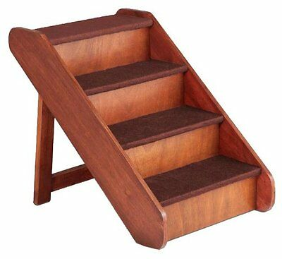 """X-Large Wood Dog Ladder Pet Stairs Ramp Bed Steps Step 25"""" Tall Folding Portable"""