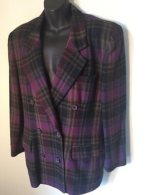 Christian Dior Vintage Blazer Double Breasted Purple Plaid Sz 10 Jacket Wool